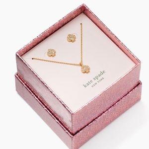Kate Spade Signature Pave Spade Necklace Stud Set